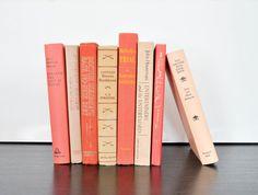 CORAL / SALMON / CREAM - 8 Vintage Decorative Books for Home Decor / Modern Chic Decor / Office Decor / Wedding Decor / Interior Decor