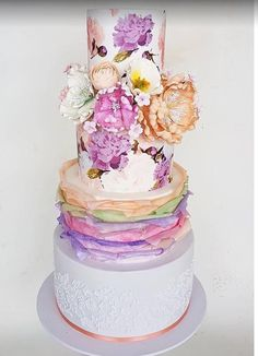 The Chic Technique:  Multi-tiered wedding cake with pastel flowers