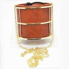Tigerstars l $33.00 Brown Cylindrical Bucket Shoulder Bag