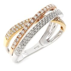 18 CARAT WHITE, YELLOW AND ROSE GOLD DIAMOND RING is such a unique design and one way to get a three in one! Rose Gold Diamond Ring, Yellow, Unique, Bracelets, Jewelry, Design, Bangle Bracelets, Jewellery Making, Jewerly