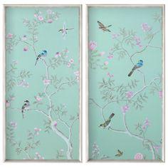 Bungalow 5 Green Garden Silk Panels Set of 2