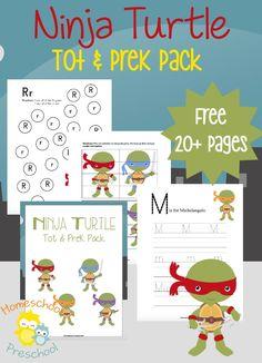 Cowabunga dudes! Your tots and preschoolers will flip for this Ninja Turtle inspired printable learning pack! | homeschoolpreschool.net