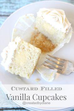 Custard Filled Vanilla Cupcakes from @createdbydiane