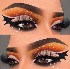 Are you looking for ideas for your Halloween make-up? Check out the post right here for scary Halloween makeup looks. Makeup Eye Looks, Eye Makeup Art, Crazy Makeup, Eyeshadow Makeup, Bat Makeup, Spider Web Makeup, Fall Eye Makeup, Media Makeup, Zombie Makeup
