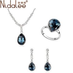 95ad45d05 Aliexpress.com : Buy Nidalee Water Drop Crystal From Swarovski Fashion  Statement Necklace Dangle Earrings Rings For Women Wedding Party Jewelry  Sets from ...