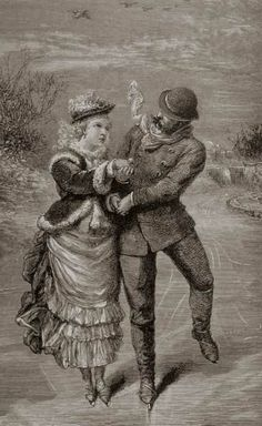 Ice Skating of Victorians--love the gathered apron of the skirt!