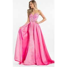 Rachel Allan 7508  Long Strapless Sleeveless ($458) ❤ liked on Polyvore featuring dresses, gowns, formal dresses, fuchsia, long formal evening gowns, pink ball gown, formal gowns, long pink dress and beaded formal gowns