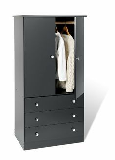 """Junior Wardrobe with 3 drawers Black by Prepac. $197.34. Proudly manufactured in North America. drawer fronts and kickers made from 5/8"""" thick laminated composite board. Detailed with matching plastic knobs. Ships Ready to Assemble. Drawer components and backer are MDF. Say goodbye to your overcrowded closet with the Edenvale 3 Drawer Wardrobe. With three full-sized drawers, a two-door cabinet and a hanging rod, this wardrobe is your all-in-one storage solution. ..."""