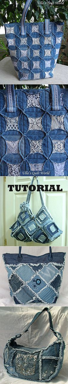 tote back . denim and lace quilt design . upcycle old jeans . cut into circles . stitch all the circles together, line with old lace, fold inward and restitch . Jean Crafts, Denim Crafts, Recycled Sweaters, Recycled Denim, Denim And Lace, Patchwork Bags, Quilted Bag, Denim Purse, Lace Purse