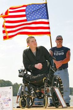 Hero Marine Cpl. Todd Love receives a warm welcoming. Love lost both legs and his left arm from an IED explosion while serving in Afghanistan. Thank you for your service Todd.