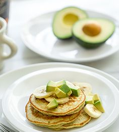 Avocado Banana Pancake Stacks Recipe :: Hass Avocado Recipes, Fresh Avocado Recipe
