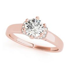 Transcendent Brilliance 14k White Gold 3/4 TDW Diamond Wrap Plain Shank Engagement Ring (G, VS2) (Rose - Size 4.5), Women's, Pink