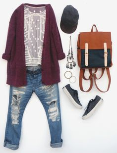 A super stylish outfit that combine boho style with all day comfort. Combine ripped boyfriend jeans with a lace white top, a long red or purple cardigan and sneakers or flat booties. Accessorize with a leather backpack, a black or… Continue Reading → Boho Outfits, Stylish Outfits, Winter Outfits, Cute Outfits, Fashion Outfits, Fashion Weeks, Mode Chic, Mode Style, Style Me