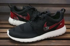 DISCLAIMER: NYcustoms items are not licensed products of Sanrio, DC, Marvel, Lucas film, Disney or any trademark/copyrighted company you may see in the work. This item is however crafted using the licensed fabric or comic. NYCustom is not affiliated with or sponsored by the NFL.  Shoes:  The base shoe used is the Men Nike Rosherun Black / Anthracite / Sail  Women Nike Rosherun Black / MTLC Platinum / White  The fabric is glued on directly to the shoes.  Turnaround Time:  To find out the time…