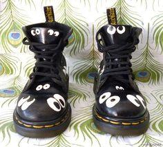 Dr Martens Boots Painted Googly Eyes Shoes Air Wair Cartoon Art Grunge Punk Goth | eBay