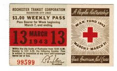 TRANSIT TICKET Pass Rochester New York March 13, 1943 Red Cross War Fund | eBay