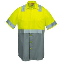 Red Kap Uniforms Class 2 High Vis Grey Men's SY24 YG Colorblock Work Shirt