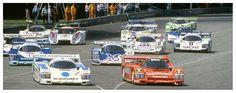 (1) Stefan Bellof - Porsche 956B - Brun Motorsport - (7) Jochen Mass - Porsche 956B - Blaupunkt-Joest Racing - (10) Klaus Ludwig - Porsche 956 - Porsche Kremer Racing - (2) Hans-Joachim Stuck - Porsche 956 - Brun Motorsport - (9) Manfred Winkelhock - Porsche 962C - Porsche Kremer Racing - (26) Jürgen Lässig - Porsche 956 - Hans Obermaier - Etc. - 200 Meilen von Nürnberg - Norisring Trophäe 1985 - Non championship race