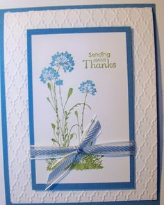 handmade card ... Serene Silhouettes flowers stamped with watercolor technique ... like the framed look with wide textured mat behind the matted flowers ... pretty card in blue and white with a touch of green ... Stampin'Up!