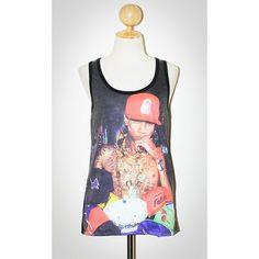 TYGA Black Singlet Tank Top Photo Transfer Sleeveless Hip Hop Pop Rock... ($24) ❤ liked on Polyvore