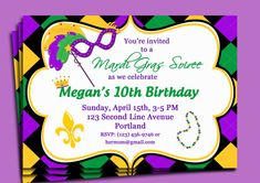 Mardi Gras Carnival Invitation Printable  by ThatPartyChick, $15.00