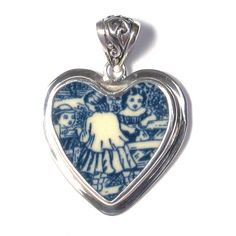 Broken China Jewelry Currier and Ives Children at the Gate Royal Blue Transferware Sterling Pendant