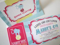 Carnival Birthday Party Invitations Circus Baby by lemonseedandco,