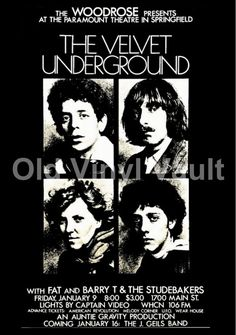 The Velvet Underground Concert Poster Paramount Theatre, Springfield, Mass.1970 | eBay