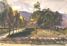 Marie Bracquemond - Paysage; jardin séparé par un mur d'une pelouse ombragée d'arbres