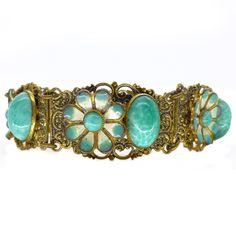 Vintage Art Deco Czech Enamel Peking Glass Flower Ornate Metal Filigree Bracelet | Clarice Jewellery | Vintage Costume Jewellery
