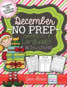 Crazy Speech World:  December No prep speech and language activities for speech therapy