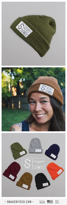 """Our super soft and warm Snake Bite Standard Series Watch Cap Beanies are available in 7 great colors and are all 100% sourced and union made in the USA! As always - Free shipping!  Use code """"PIN15"""" for 15% off your order only until the end of the week!"""