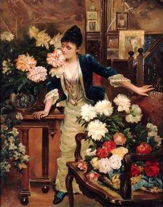 Strutt, William (b,1825)- Woman Smelling Flower