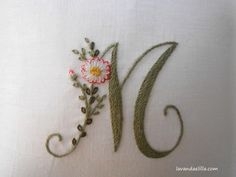 Elisabetta ricami a mano: Soffocata dai fiori Elizabeth Hand embroidery: Suffocated by flowers M - beautiful embroidery monogram ℳarina, Letter ℳ, Monogram Ribbon Embroidery Tutorial, Basic Embroidery Stitches, Embroidery Alphabet, Hand Embroidery Videos, Hand Embroidery Flowers, Creative Embroidery, Embroidery Monogram, Flower Embroidery Designs, Hand Embroidery Patterns