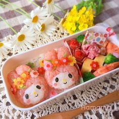 my melody bento♡ Japanese Bento Box, Japanese Food Art, Japanese Sweets, Kawaii Cooking, Bento Kids, Cute Bento Boxes, Kawaii Bento, Boite A Lunch, Creative Food Art