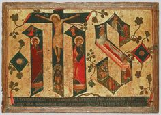 JHS by Andreas Ritzos c- The artist is combining in three letters- J(esus) H(ominum) S(alvator), the three representations of Crucifixion, Resurrection and Descent to Hades Byzantine Art, Byzantine Icons, Greek Icons, Crucifixion Of Jesus, Blessed Mother Mary, Virtual Museum, Orthodox Icons, Illuminated Manuscript, Religious Art