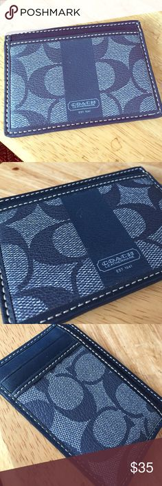 Signature Pocket Card Case Denim styled pocket card case by Coach. Signature coated canvas. 4x2 3/4. Perfect/excellent condition. Brand new. Perfect for the night out on the town! Coach Accessories Key & Card Holders