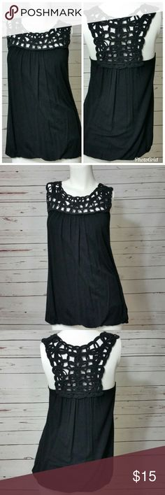 """ELEGANT BLACK TANK TOP In excellent condition!!!      Elegant with beautiful detail, perfect for summer  Measurements laying flat      Chest: 14""""      Length: 26.5""""  Please message me with any questions.  Check out my other items! Wet Seal Tops Tank Tops"""