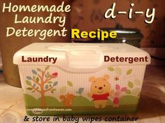 Homemade Laundry Soap recipe using only 3 ingredients. I use this recipe and then store my detergent in an old diaper wipes container.