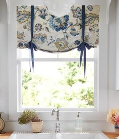 Soft, subtle texture and eye-catching color for your rooms - you'll find them both in this sublime combination of a detailed Jacobean floral print and linen blend fabric. (Country Curtains Jacobean Floral Lined Tie-Up Valance. Available in Blue, Gold and Rose.)