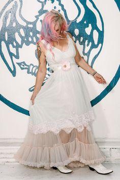 sea foam green mushroom & pink ruffle chiffon boho princess dress by mermaid…