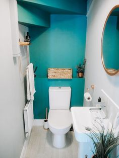 My Downstairs Bathroom Makeover: Style On A Budget - - Give your downstairs loo a new lease of life using inspiration from my own bathroom makeover, on a budget without scrimping on style. Small Toilet Room, Small Bathroom, Modern Bathroom, Bathroom Makeovers On A Budget, Bathroom Renovations, Remodel Bathroom, Bad Inspiration, Bathroom Inspiration, Understairs Toilet