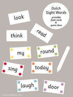 Dolch Sight Words printable flash cards and fun game ideas