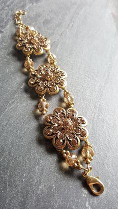 #Gold #Crystal #Statement #Bracelet - #Handmade #Jewelry - #RenFaire - DRAVYNMOOR #christmasgift #stockingstuffer #giftideas