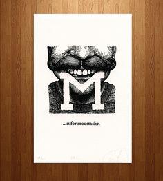 M is for Mustache Letterpress Print | Art Prints | Susanna Davy | Scoutmob Shoppe | Product Detail