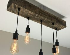 Reclaimed barn beam light fixture with Edison di 7MWoodworking