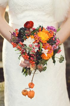 autumn rustic rainbow bouquet