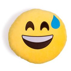 Excited Sweaty Emoji Pillow