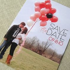 save the date.  Also do one with them inside the balloons or behind and only their feet showing.