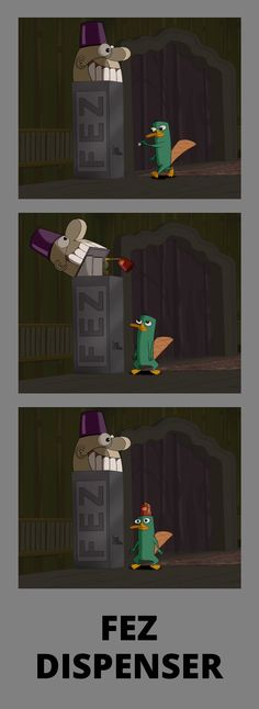 phineas and ferb, fez dispenser - agent p in a fez!